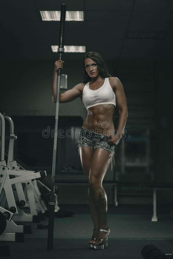 Download Woman with barbell stock photo. Image of muscle, power - 34050984
