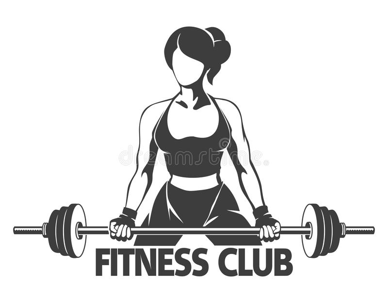 Woman with Barbell Fitness Emblem royalty free illustration