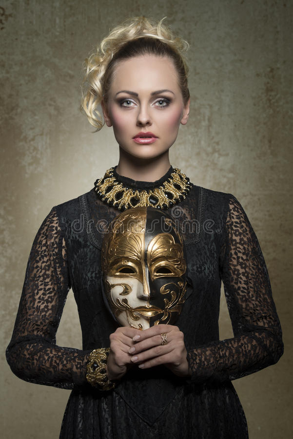 Woman with baroque gothic costume stock image