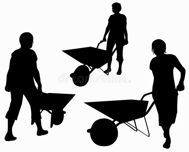 Woman with barrow silhouette vector illustration