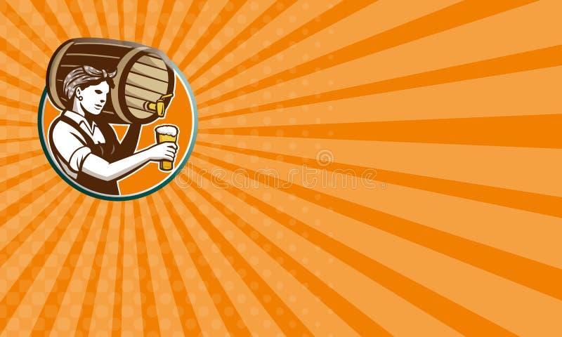 Woman Bartender Pouring Keg Barrel Beer Retro vector illustration