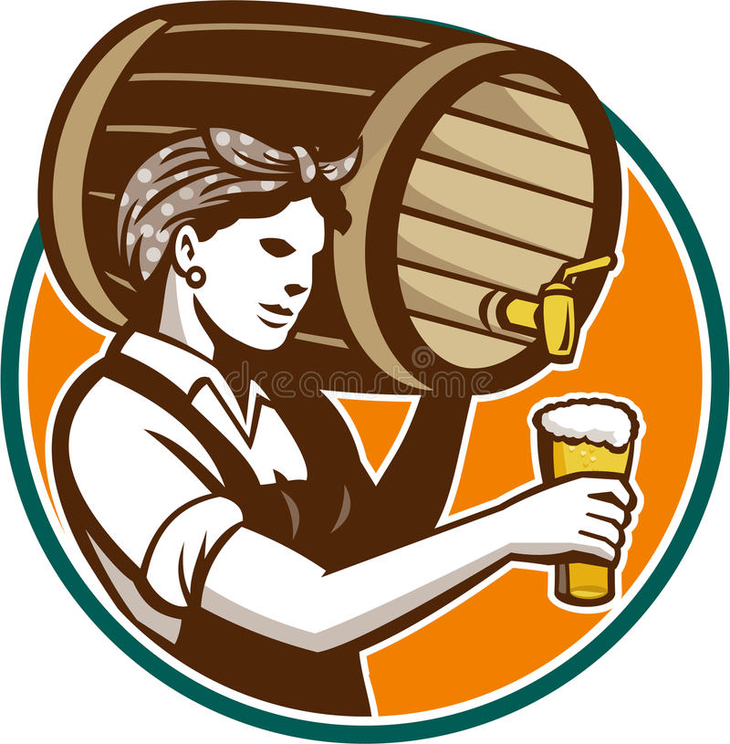 Woman Bartender Pouring Keg Barrel Beer Retro stock illustration