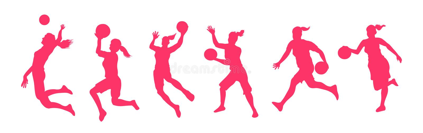 Woman basketball players. Woman basketball players vector isolated on white background vector illustration