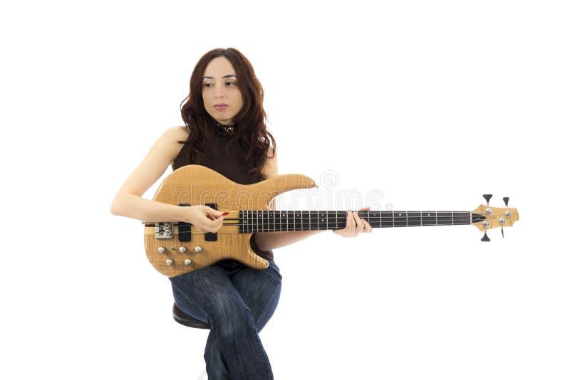 Woman bassist stock photo
