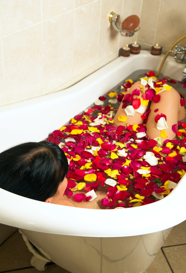 Woman bathing royalty free stock photos