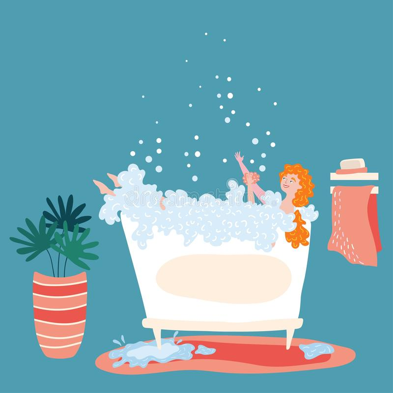 Woman bathing at home, cartoon character vector illustration stock images
