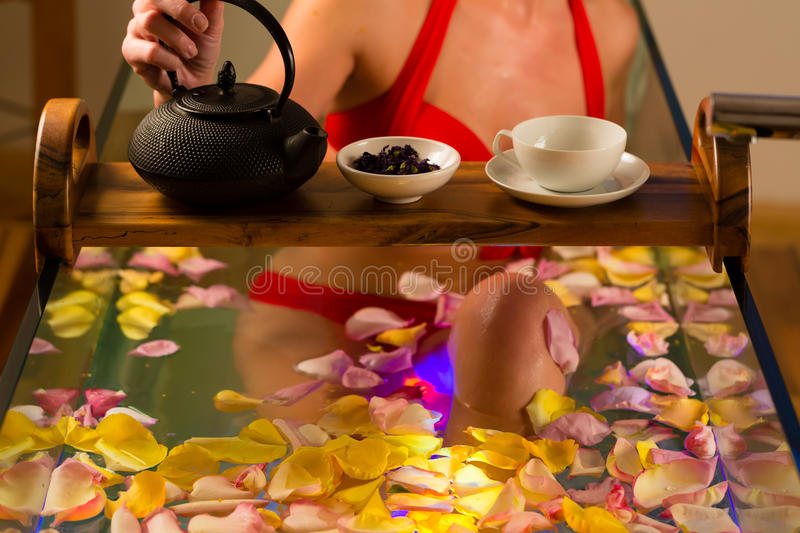 Download Woman Bathing In Spa With Color Therapy Stock Photo - Image of healing, beautiful: 26868990