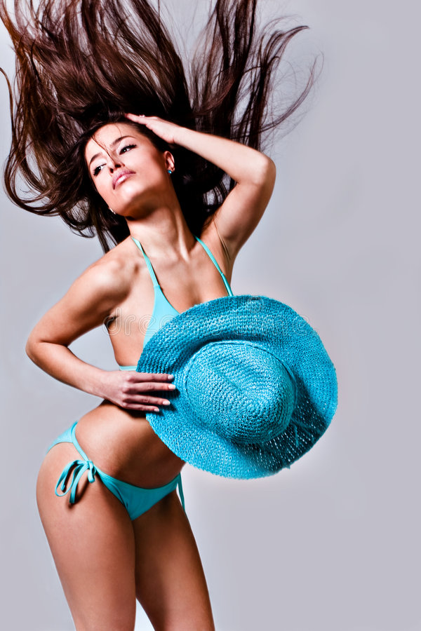 Woman in bathing suit royalty free stock image