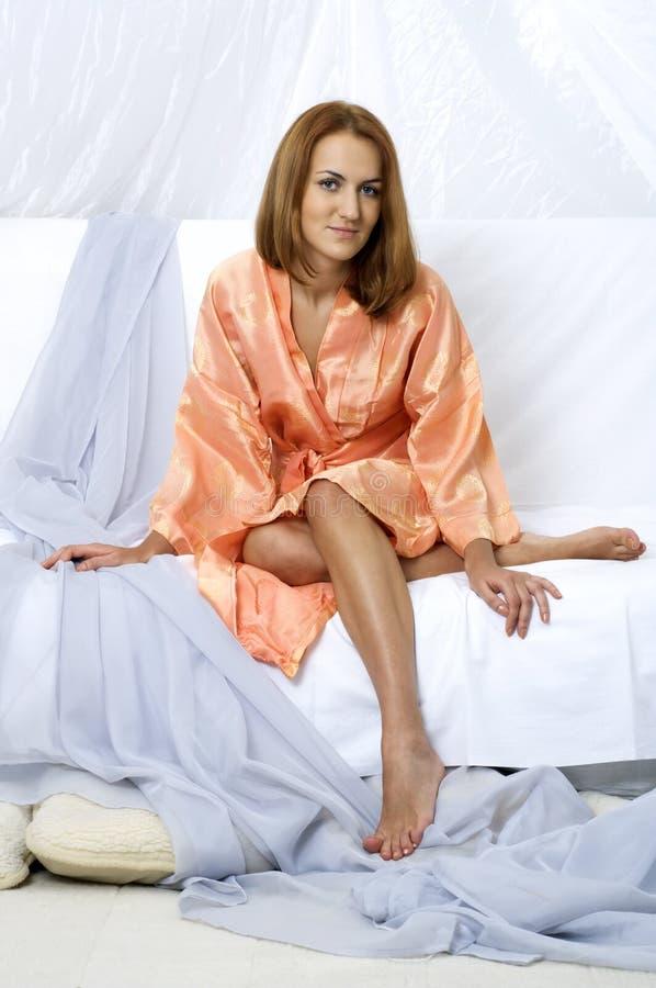 Woman in a bathrobe