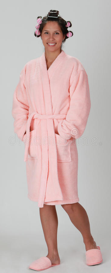 Download Woman in a bathrobe stock photo. Image of slippers, smile - 18414386