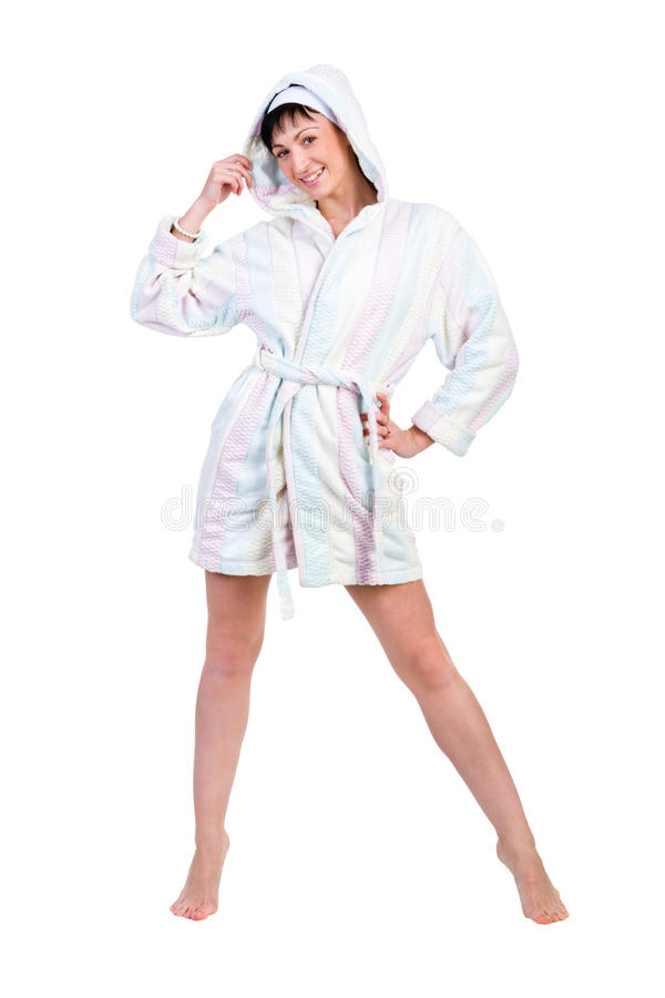 Woman In Bathrobe Full Portrait Isolated On White Royalty Free Stock Photo