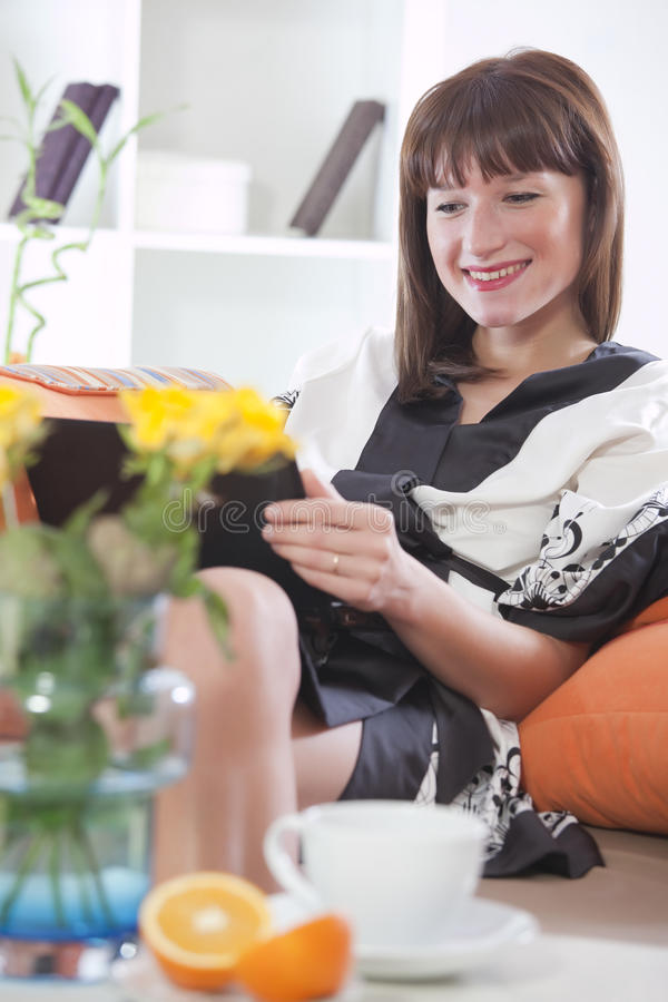 Download Woman In Bathrobe With Laptop Stock Photo - Image: 17008264