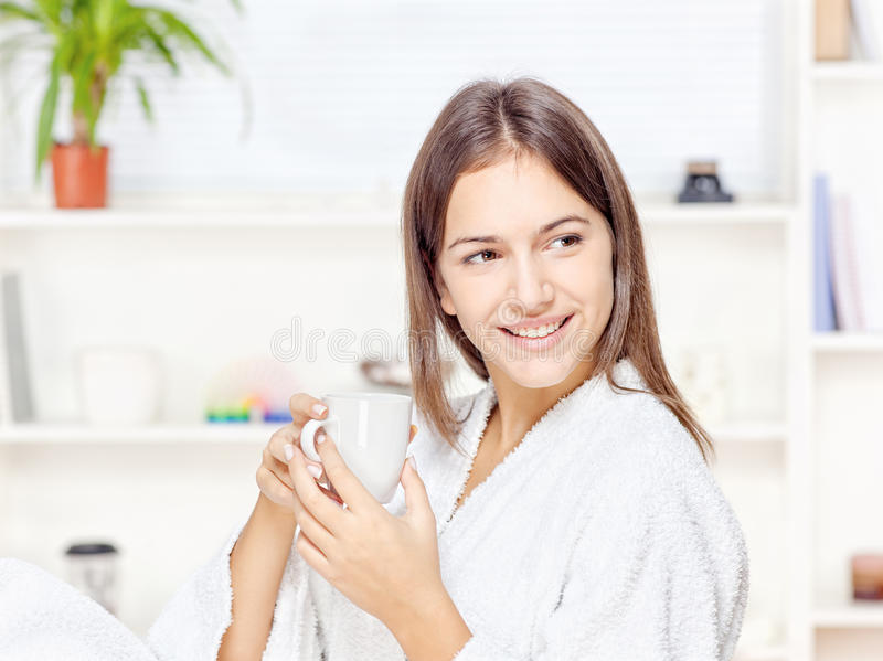 Download Woman In Bathrobe Relaxing At Home Stock Image - Image: 27877283