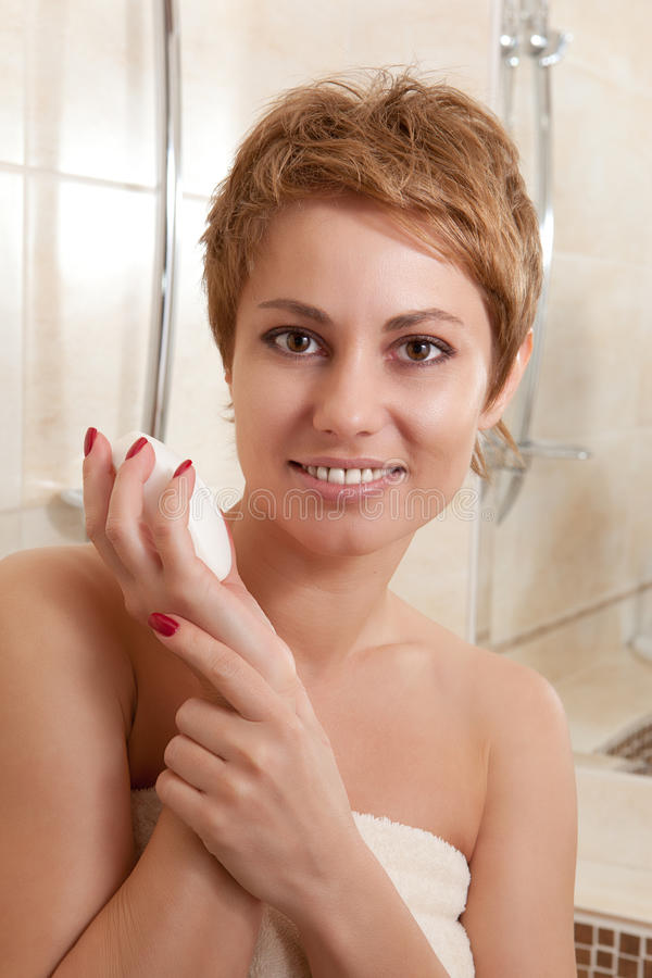Download Woman in the bathroom stock image. Image of face, complexion - 26437041