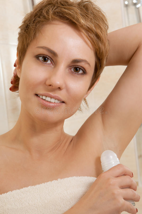 Woman In A Bathroom Royalty Free Stock Photography