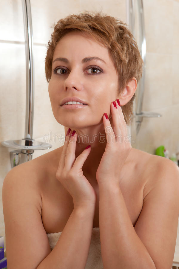 Download Woman in a bathroom stock image. Image of hair, complexion - 26596731