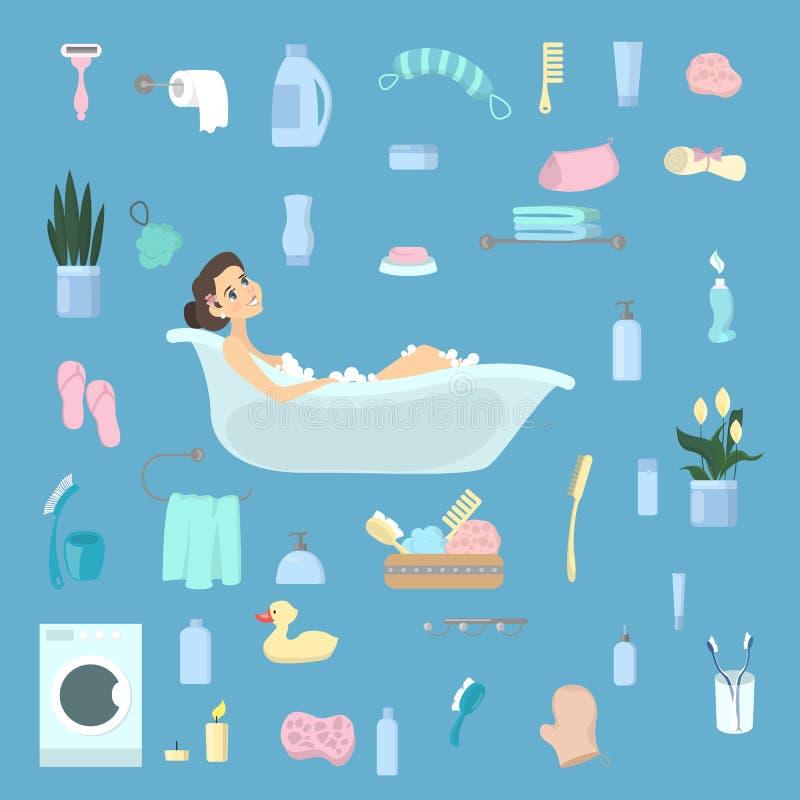 Woman in bathtub. stock vector. Illustration of brush - 106969401