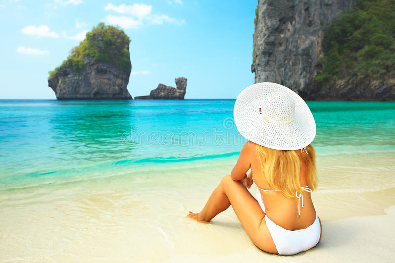 Download Woman on the beach stock photo. Image of leisure, relax - 12771410