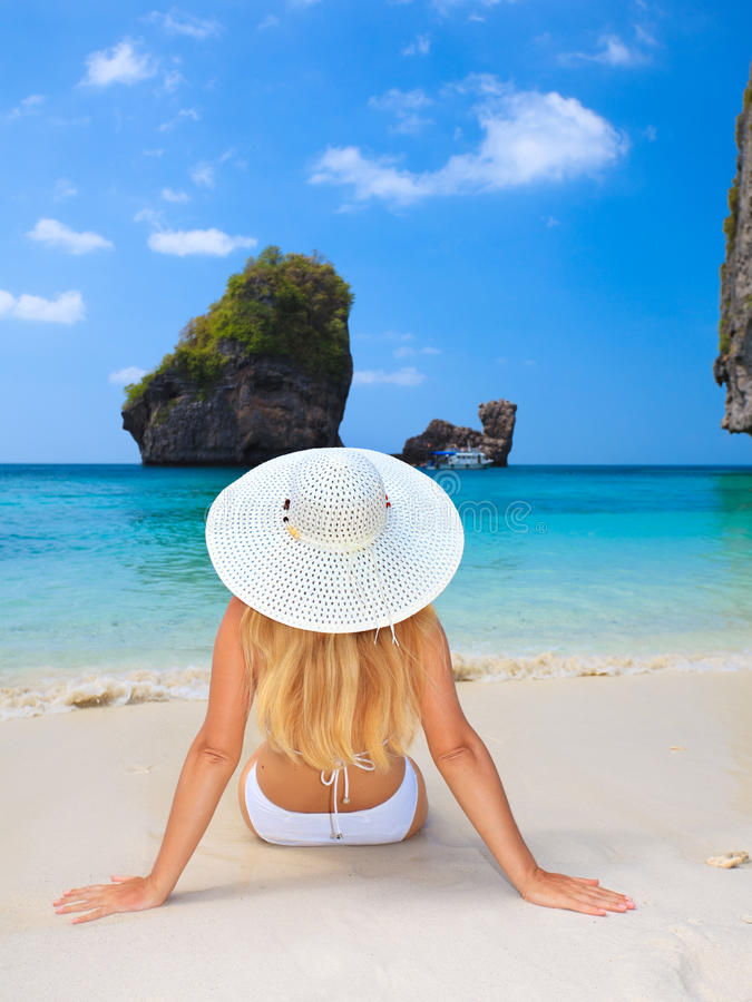 Download Woman on the beach stock image. Image of miami, enjoyment - 12852021