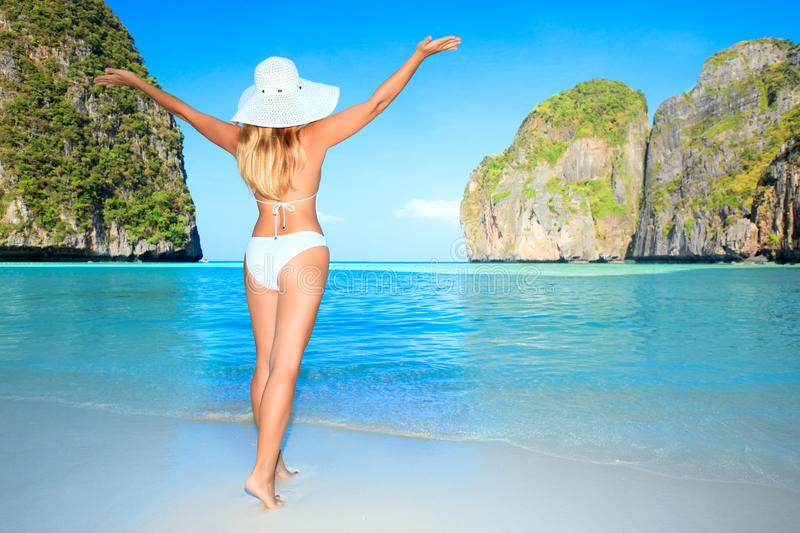 Download Woman on the beach stock image. Image of maldives, exotic - 14199143