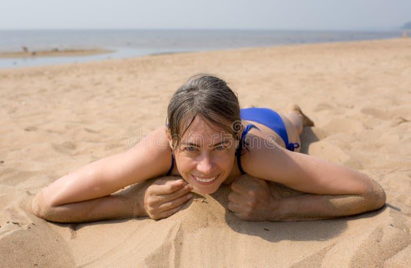 Download The woman on beach stock photo. Image of bikini, beach - 16200142