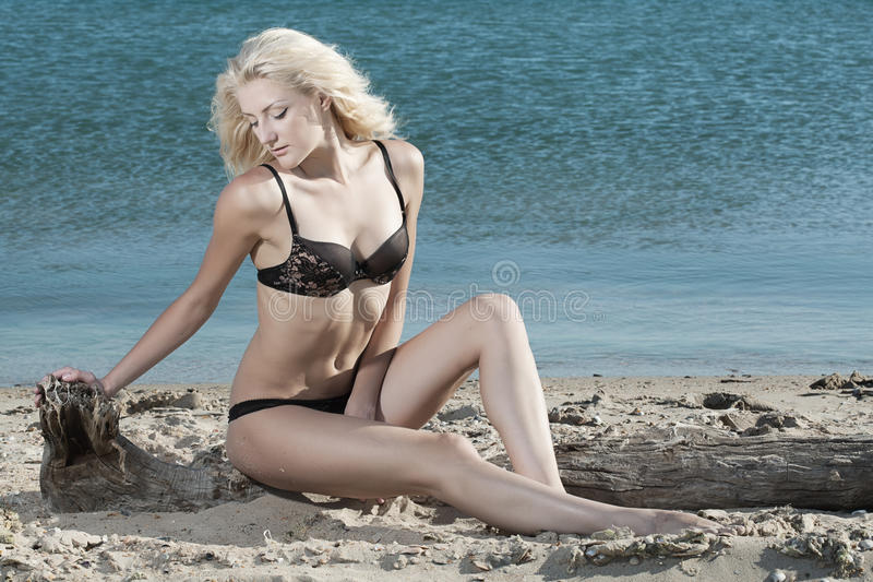 Download Woman on beach stock photo. Image of glamour, tanned - 25515780
