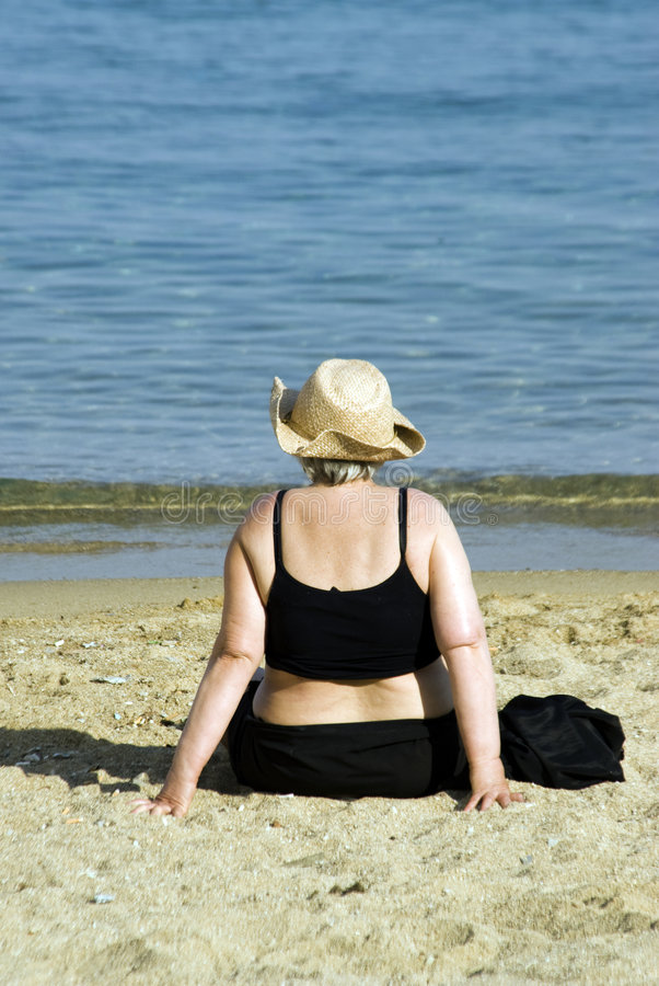 Download Woman on beach stock photo. Image of forties, aged, aegean - 2912314