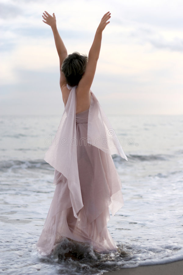 Download Woman on the beach stock image. Image of christianity, arms - 536237