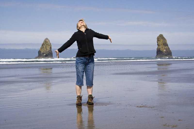 Woman on the Beach stock image