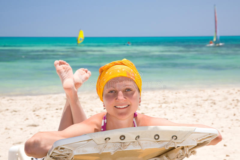 Download Woman On The Beach Bed Royalty Free Stock Image - Image: 9956206
