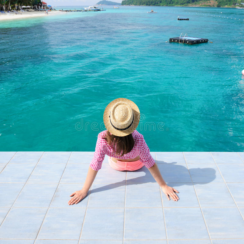 Download Woman at beach jetty stock image. Image of holiday, island - 27191155