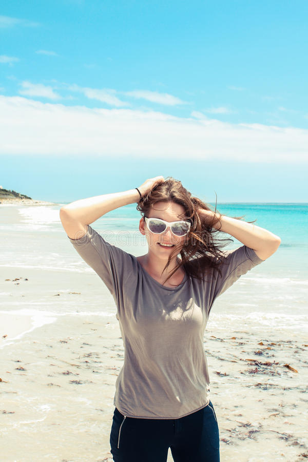 Woman at Beach of Kommetjie royalty free stock images