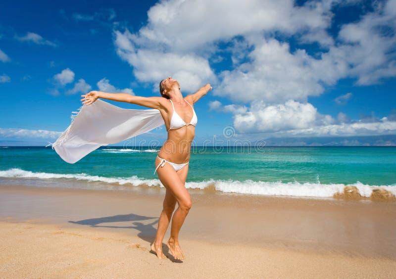 woman beach sarong royalty free stock image