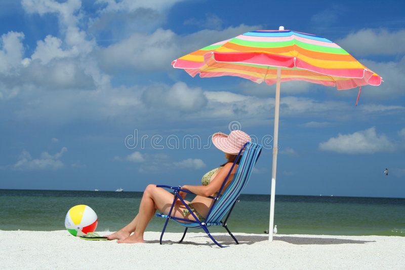 Download Woman On The Beach Sittin On A Chair Stock Images - Image: 6302564