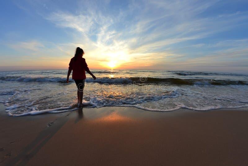 Woman On Beach At Sunset Free Public Domain Cc0 Image