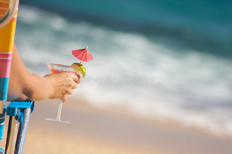 Download Woman On Beach With Tropical Drink Stock Image - Image: 6749731