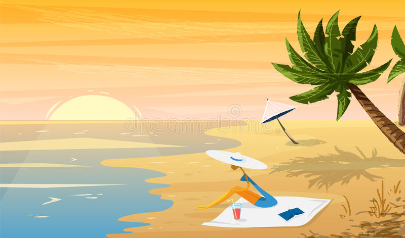 Woman on beach Tropical sunset landscape with palm trees and umbrella. stock illustration