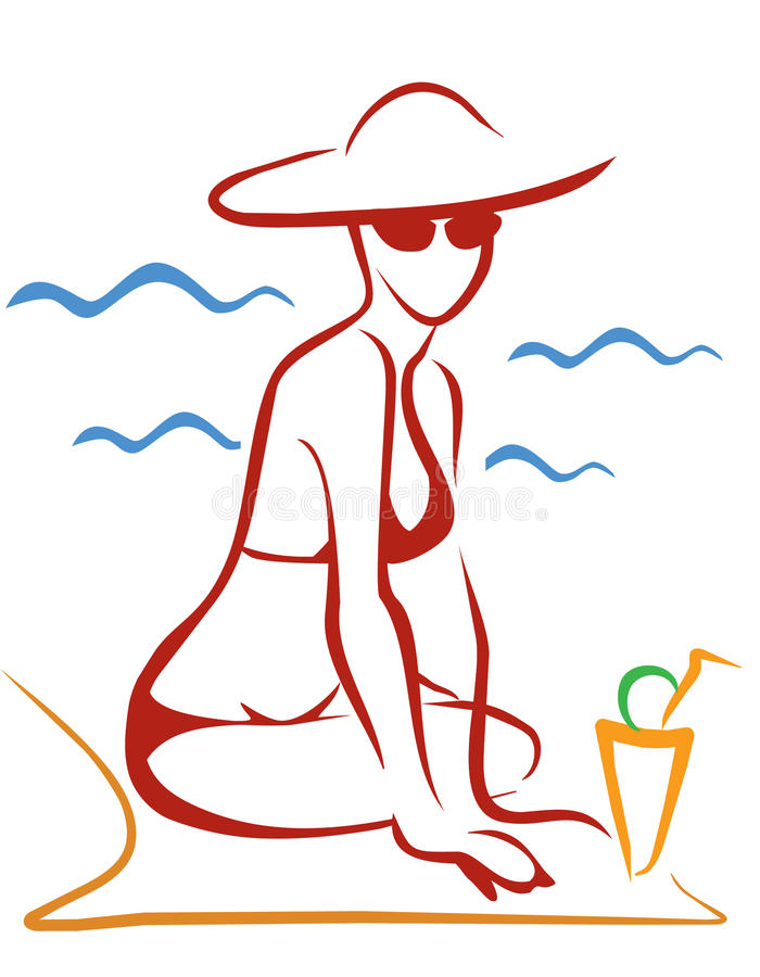 Download Woman at the beatch stock vector. Image of beauty, body - 20173771
