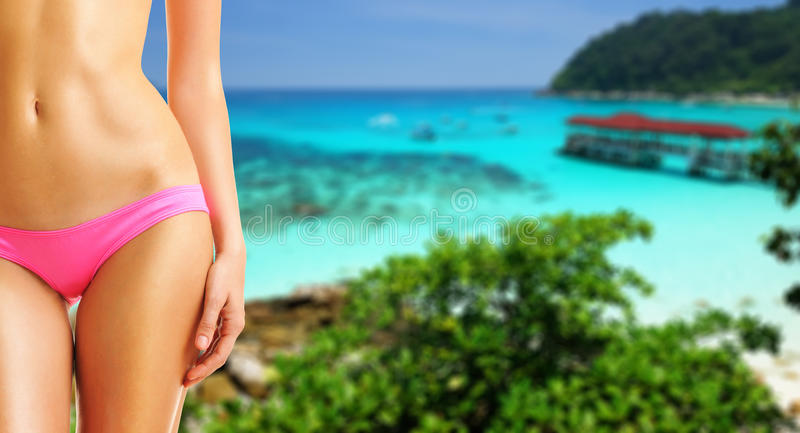 Woman on beautiful beach. At Perhentian islands, Malaysia. Collage royalty free stock photo