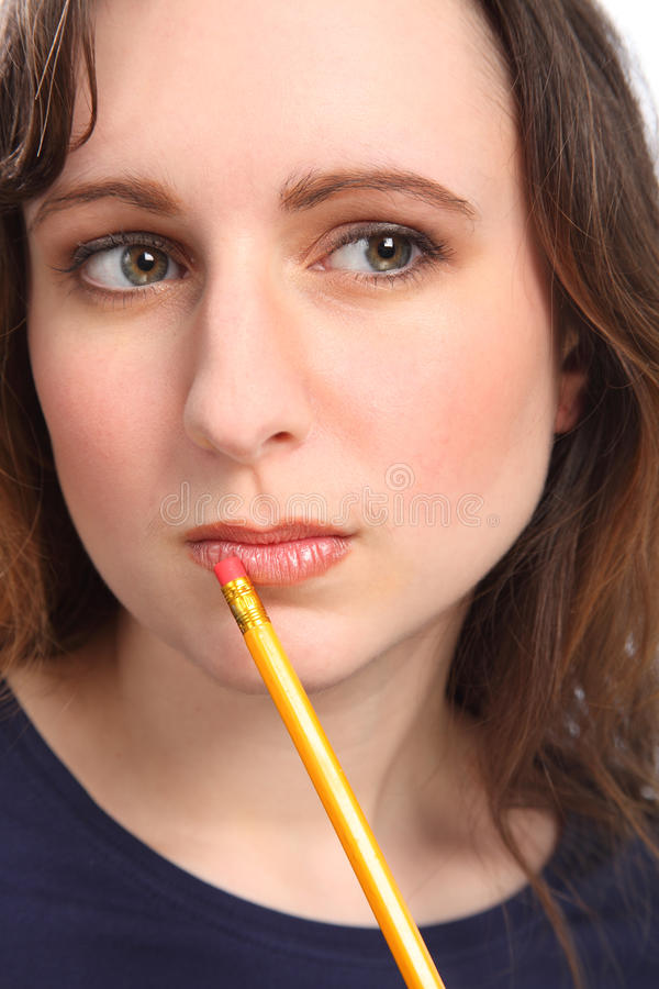 Download Woman With Beautiful Eyes Deep In Thought Stock Photo - Image: 18715264