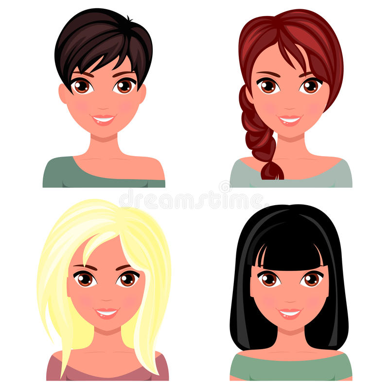 Woman beautiful face with different hairstyles. Cartoon beautiful girl in flat design style royalty free illustration