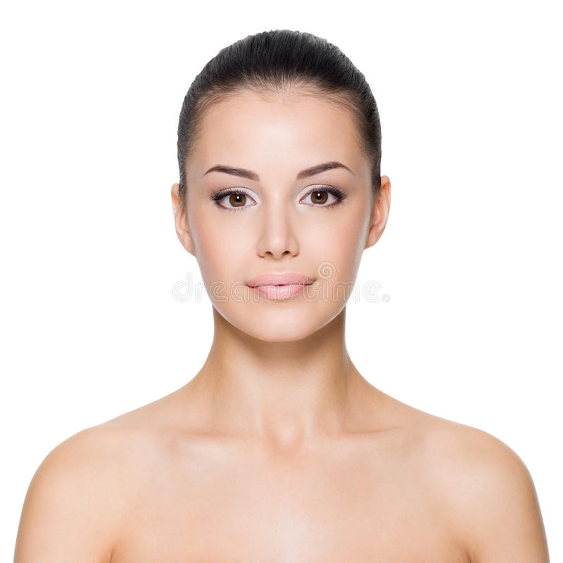 Woman with beautiful face stock photography