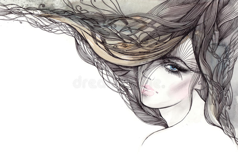 Woman with beautiful hair vector illustration
