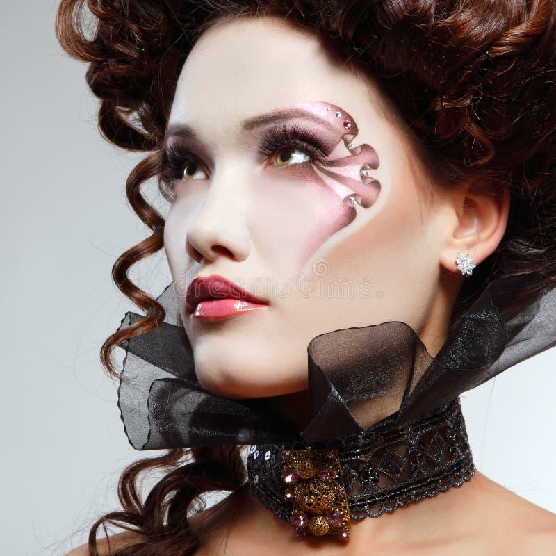 Woman beautiful halloween vampire. Baroque aristocrat stock photography