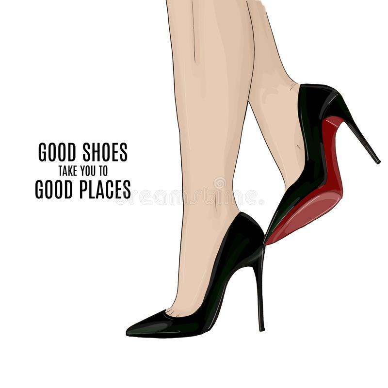 Woman beautiful legs on stileto high heels shoes fashion illustration. Modern elegance beauty poster. Red black offic royalty free illustration