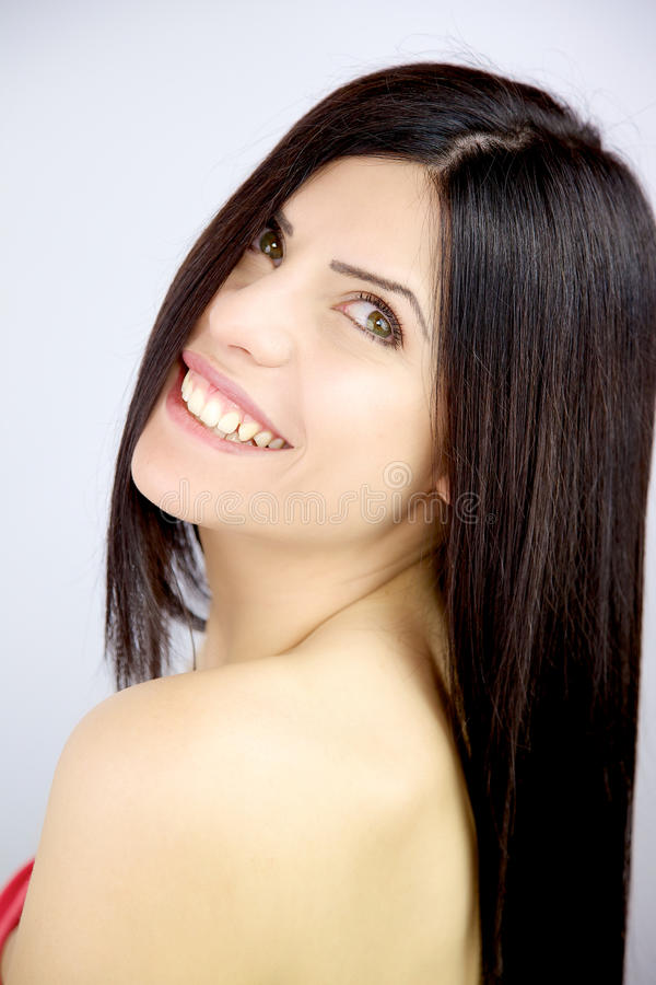 Beautiful Download Woman With Beautiful Long Silky Hair Smiling In Studio Stock Photo    Image Of Fashion