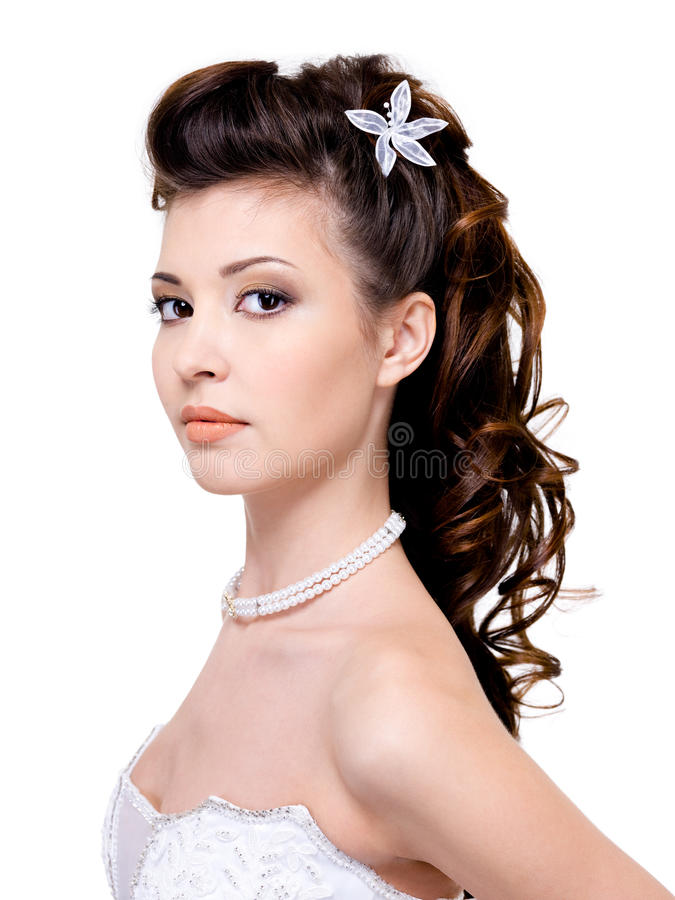 Woman with beautiful wedding hairstyle royalty free stock photography