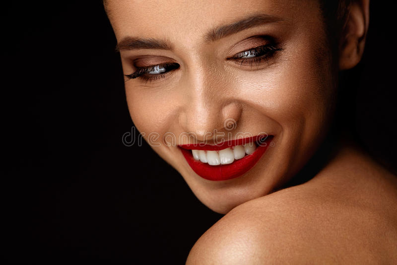 Woman With Beauty Face And Beautiful Makeup. Cosmetics Concept. Fashion Makeup Model. Portrait Of Beautiful Glamourous Young Woman With Perfect Makeup, Long stock photos