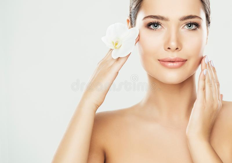 Woman Beauty Face Care, Model Touching Neck, Beautiful Model Skin Treatment and Cosmetic royalty free stock images