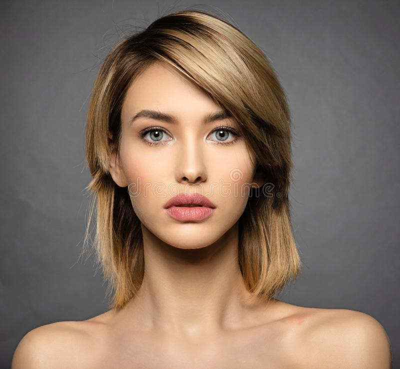 Woman with beauty face and clean skin. blonde woman stock image